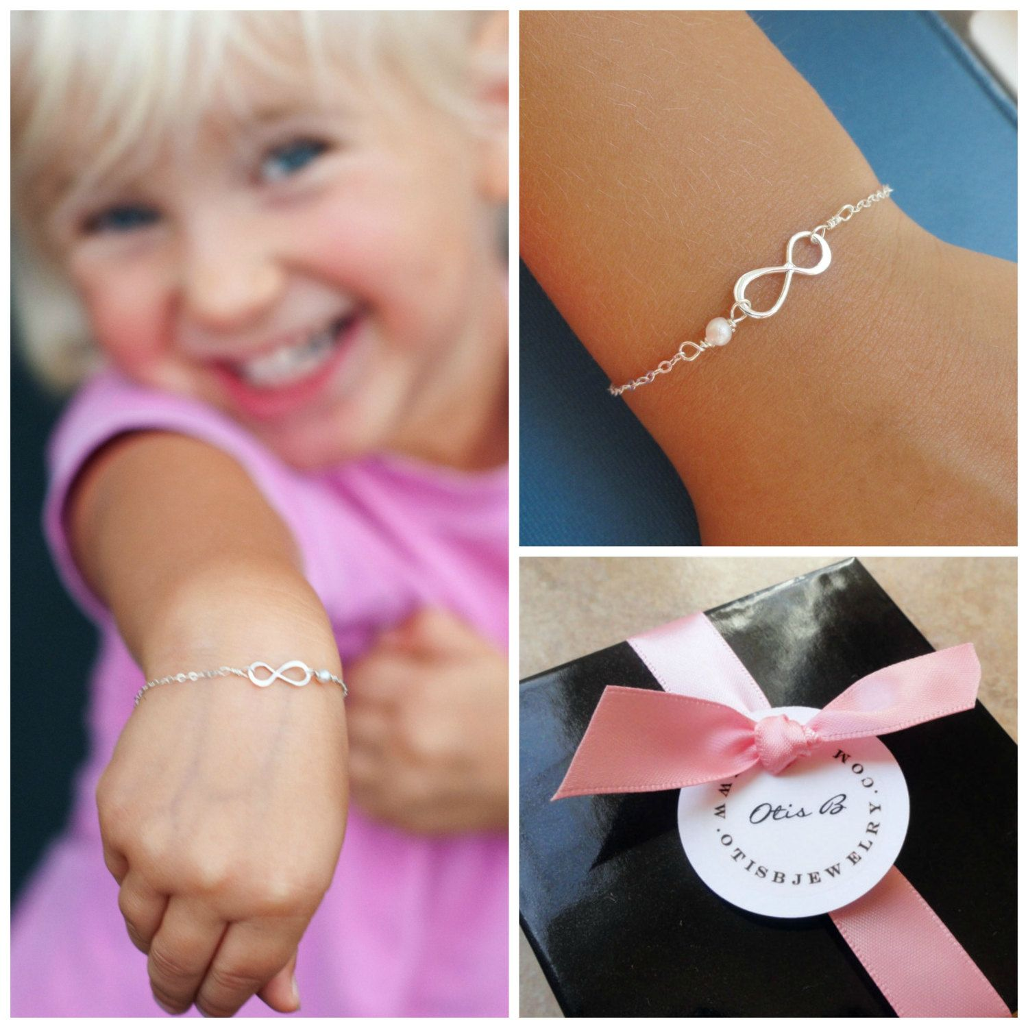 Child size silver infinity bracelet with pearl by briguysgirls