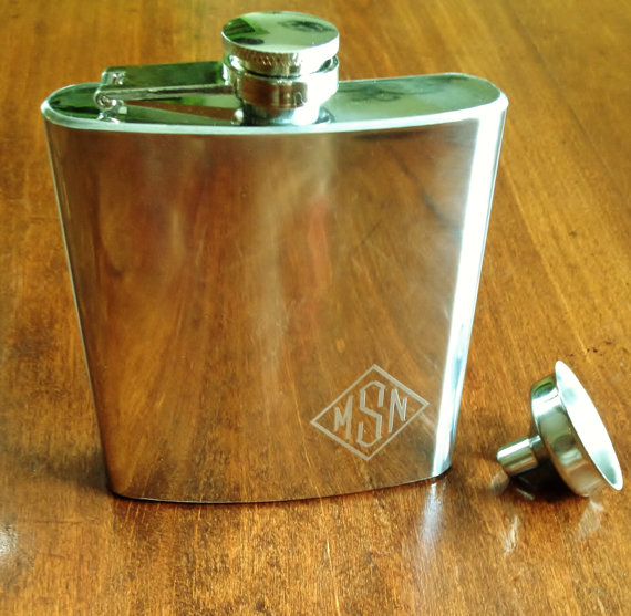 Monogram Polished Pocket Flask With Funnel Personalized Engraved Gifts For Men Under 20