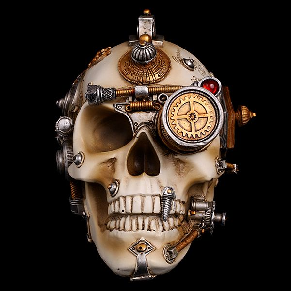 профиль, механический череп картинки свечение