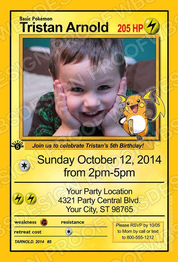 Printable Pokemon Card Photo Invitation Printable Birthday Invitations Pokemon Invitations Birthday Invitations