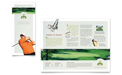 Golf Course  Instruction  Tri Fold Brochure Template Design