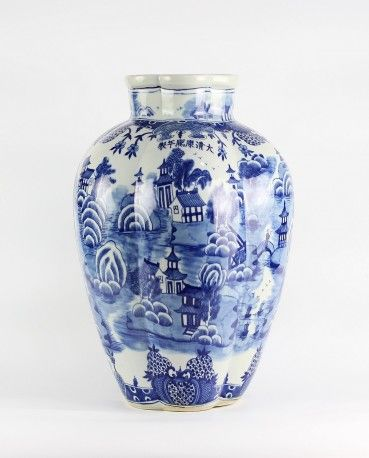 Ancient China Landscape Vase Blue And White Decorating