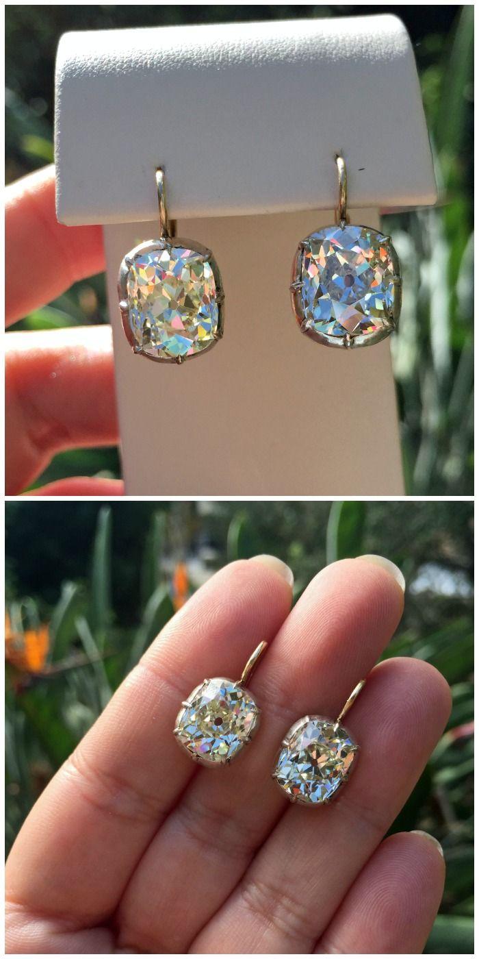 Glorious 946 Carat Antique Cushion Cut Diamond Drop Earrings