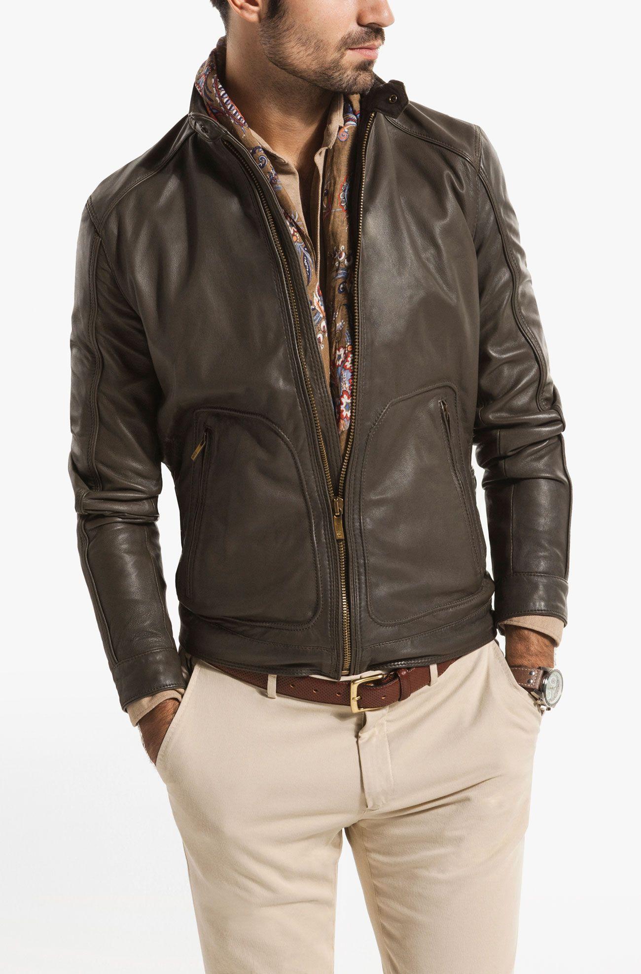 GREEN LEATHER JACKET Massimo Dutti Menswear