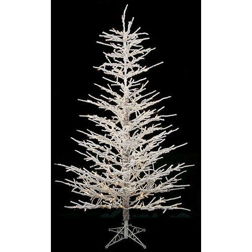 Pre Lit Christmas Twig Tree: Commercial Pre-lit Clear Light 7 Ft. Flocked Twig Tree