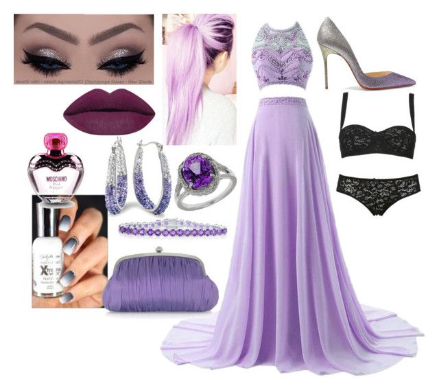 """""""Prom #1"""" by yagirlyqveenkayla ❤ liked on Polyvore featuring beauty, Christian Louboutin, By Emily, Lord & Taylor, Belk & Co., Amanda Rose Collection, Julia Cocco', Dolce & Gabbana Underwear and Moschino"""