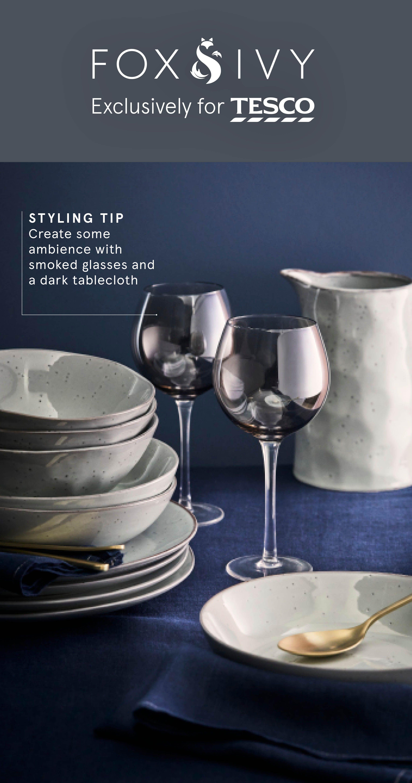 Fox Ivy Lustre Wine Glasses Tesco Home Tesco Dark Tablecloth