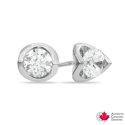 T W Certified Canadian Diamond Solitaire Tension Earrings In 14k White Gold H I I2 Peoples Jewellers 0 40 Ct