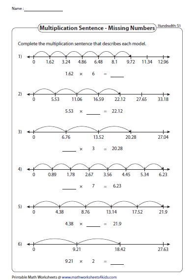 Missing Numbers Hundredths Number Line Decimal Multiplication Decimals Worksheets