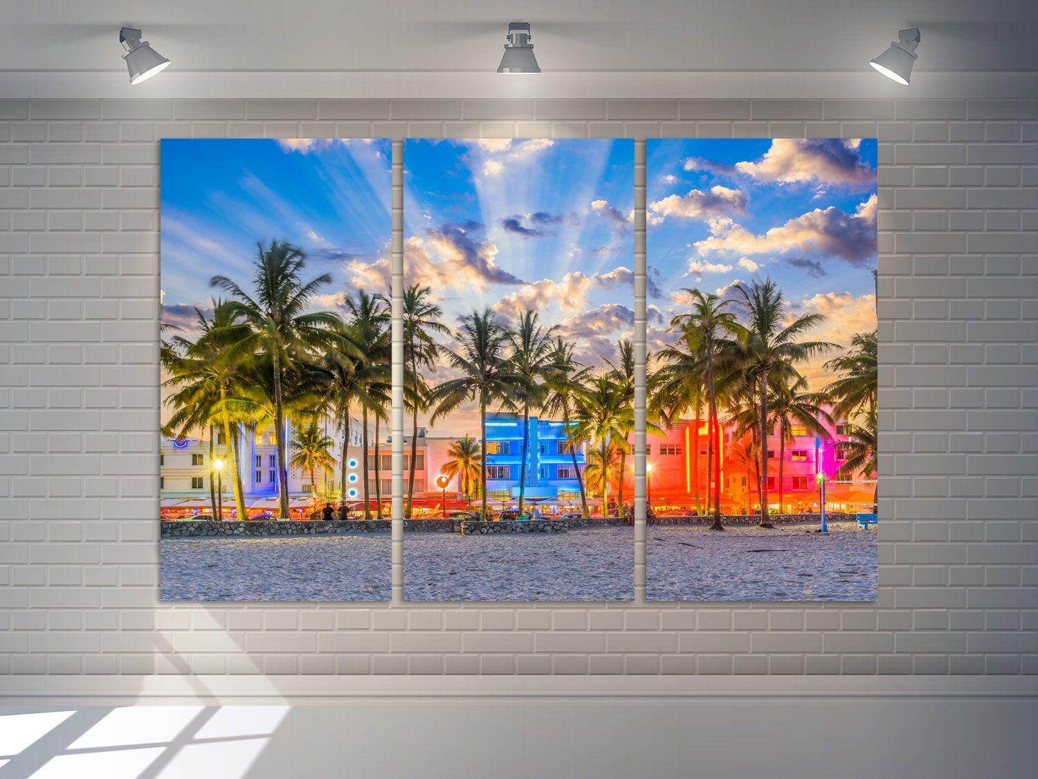 Miami Beach Wall Art Florida Canvas Print Ocean Drive Wall