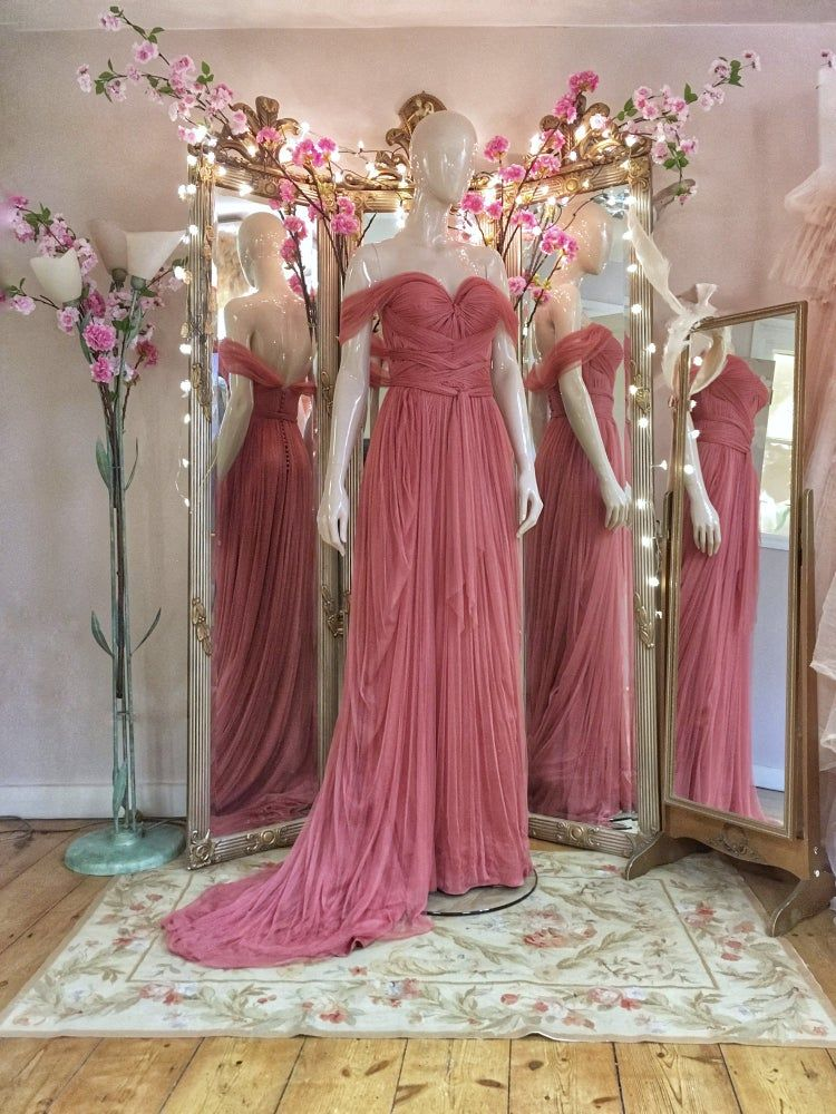 Sample Sale Rose Pink Silk Tulle Romantic Grecian Goddess Style