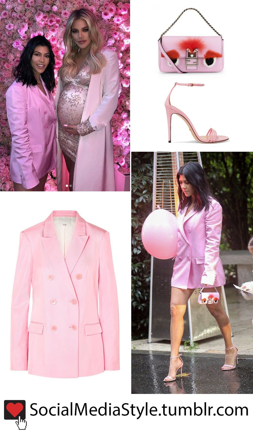 300c94da7c43 Buy Kourtney Kardashian's Pink Blazer Dress, Monster Bag, and Strappy  Sandals from Khloe's Baby Shower, here!