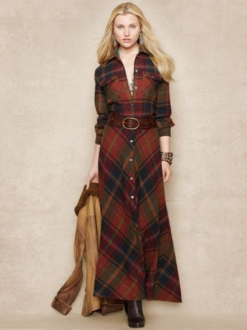 Plaid Wool Cashmere Maxidress Blue Label Maxi Dresses