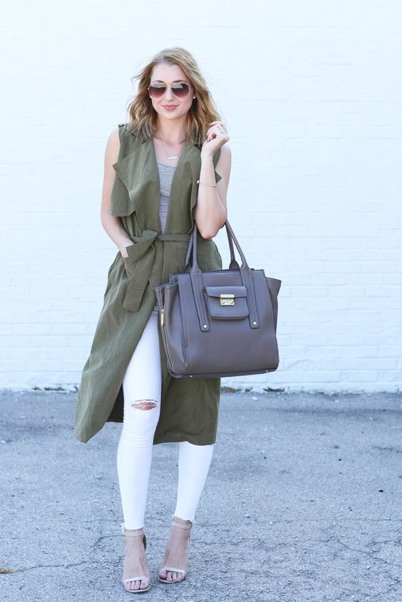 street-style-chic  olive green-white striped shirt and white jeans and a  jacket 08f06b2df