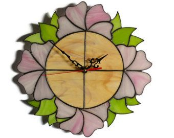 White Flowers Wall Clock Daisy Stained Glass Clock White Daisy Home Decor Wall Clock Clock White Flowers