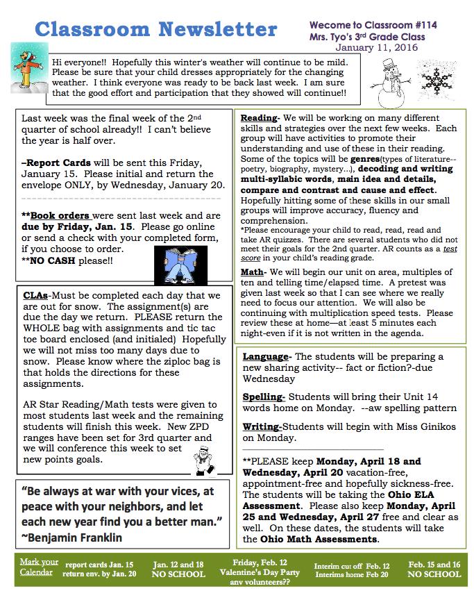 Classroom Newsletter Template Sample Newsletters Pinterest