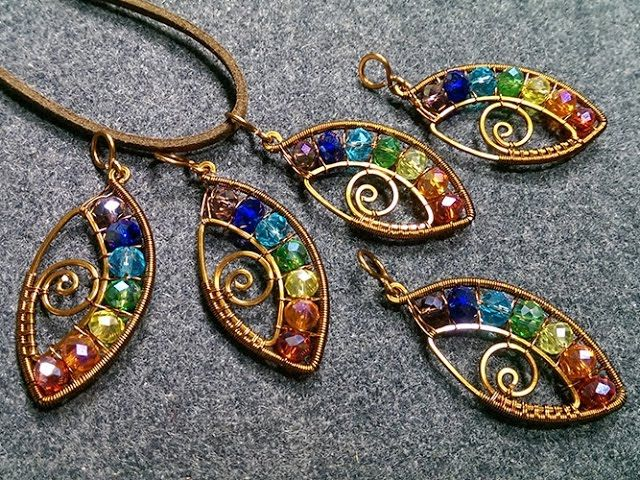Eye pendant with stones rainbow colors- Wire Wrapping stones 164 ...