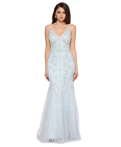 Wedding Dresses Discover Allover Beaded V Neck Gown Xscape Allover Beaded V Neck Gown Reviews Dre In 2020 Prom Dresses Formal Dresses For Women Womens Prom Dresses
