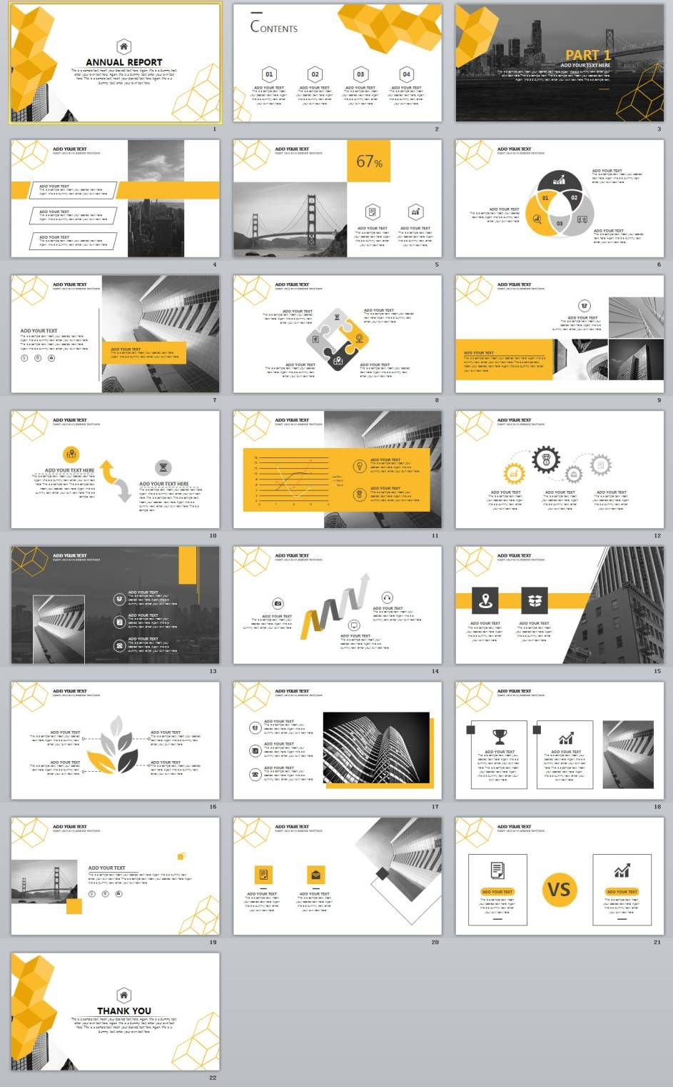 22 Best Yellow Annual Report Powerpoint Template Infographics