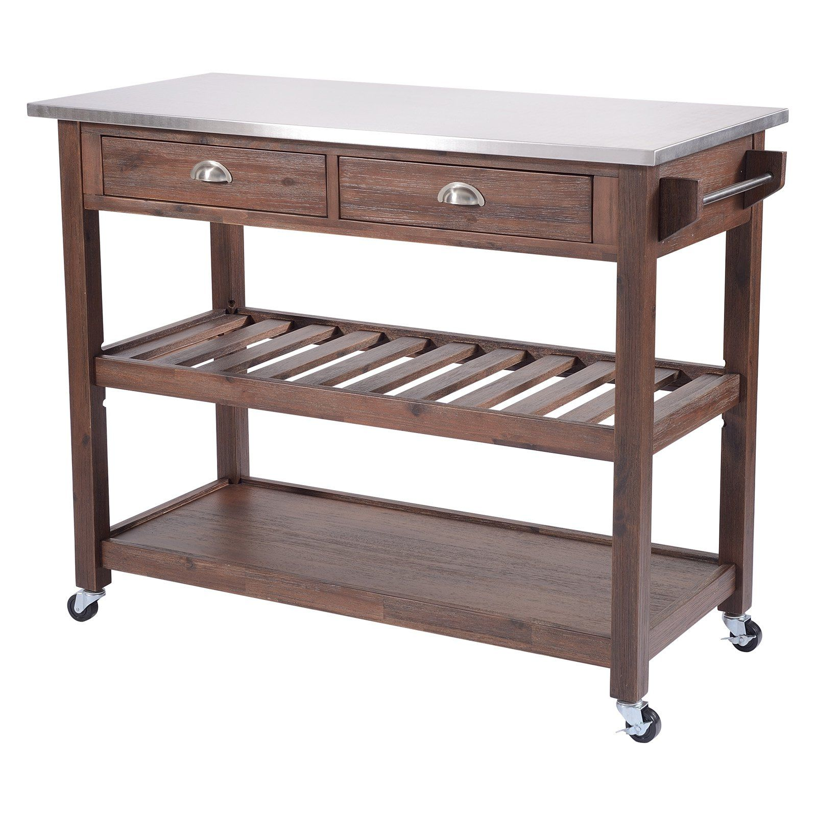 Sonoma Wire Brush Rustic Finish Kitchen Cart Kitchen Cart Countertops Chestnut Finish
