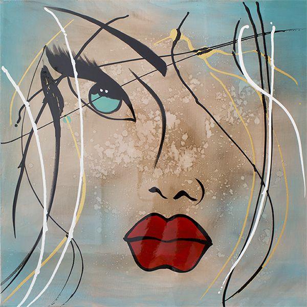 tableau visage contemporain bleu et