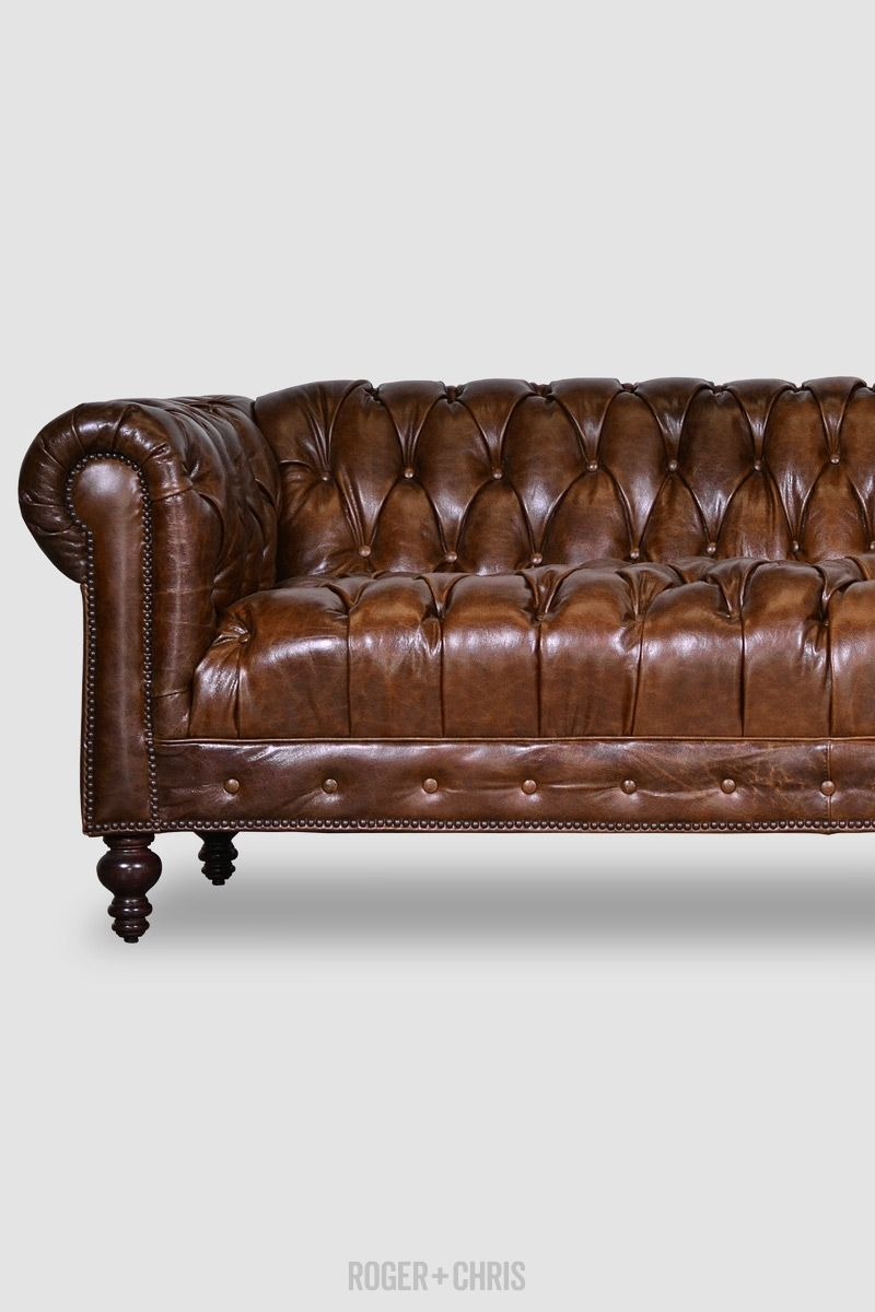 - Tufted Brown Leather. Tight Seat. Chesterfield Sofas, Armchairs