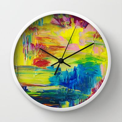 GOING THROUGH THE MOTIONS   Stunning Saturated Bold Colors Modern Nature  Abstract Wall Clock