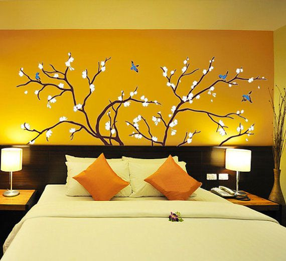 Bedroom Tree Birds Beautiful Home Wall Art Stickers Decals Brighten Any Room Wall Decor Stickers Yellow Walls Home Wall Art