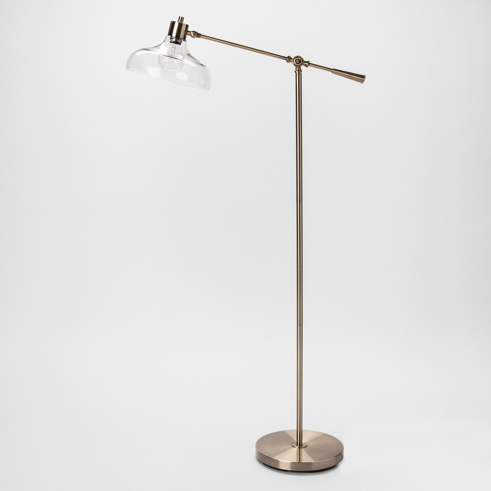 Crosby Glass Shade Floor Lamp Brass Includes Energy