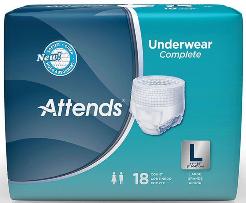 "BG/18 - Attends Super Plus Absorbency Pull-On Protective Underwear with Leakage Barrier Large 44"" - 58"""
