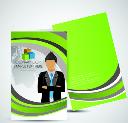 Cover brochure and Business card vector set 01
