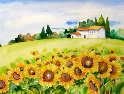 Tuscany Water Colors Google Search Watercolor Sunflower