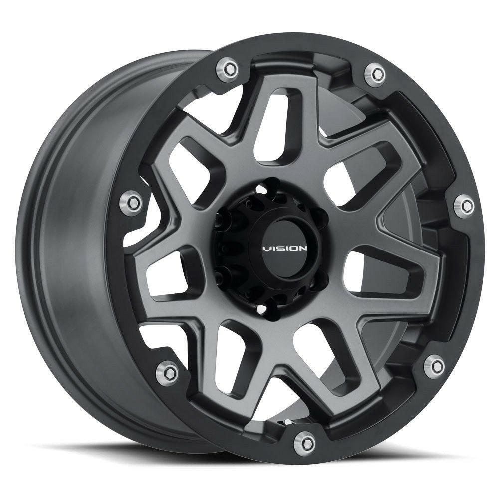 17 Vision 416 Se7en Grey Wheel 17x9 8x6 5 12mm Chevy Silverado Gmc Dodge 8 Lug Visionoffroad In 2020 Wheel Rims Black Wheels Custom Trucks