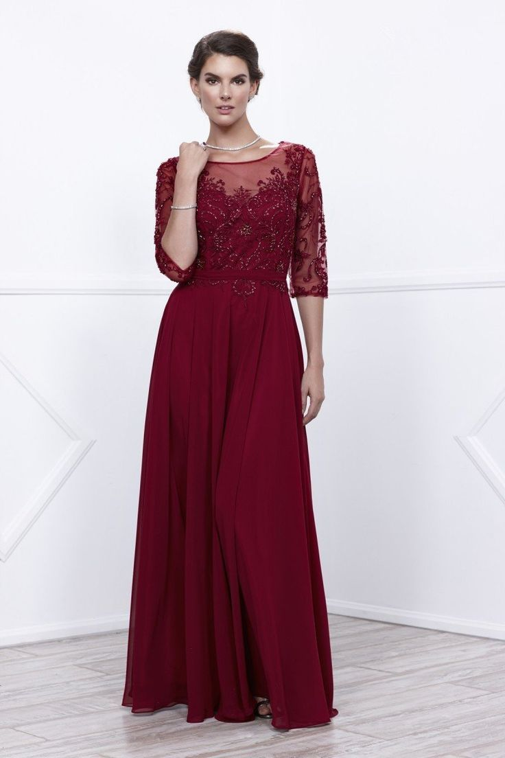Sleeved burgundy mother dress in mother of the bride