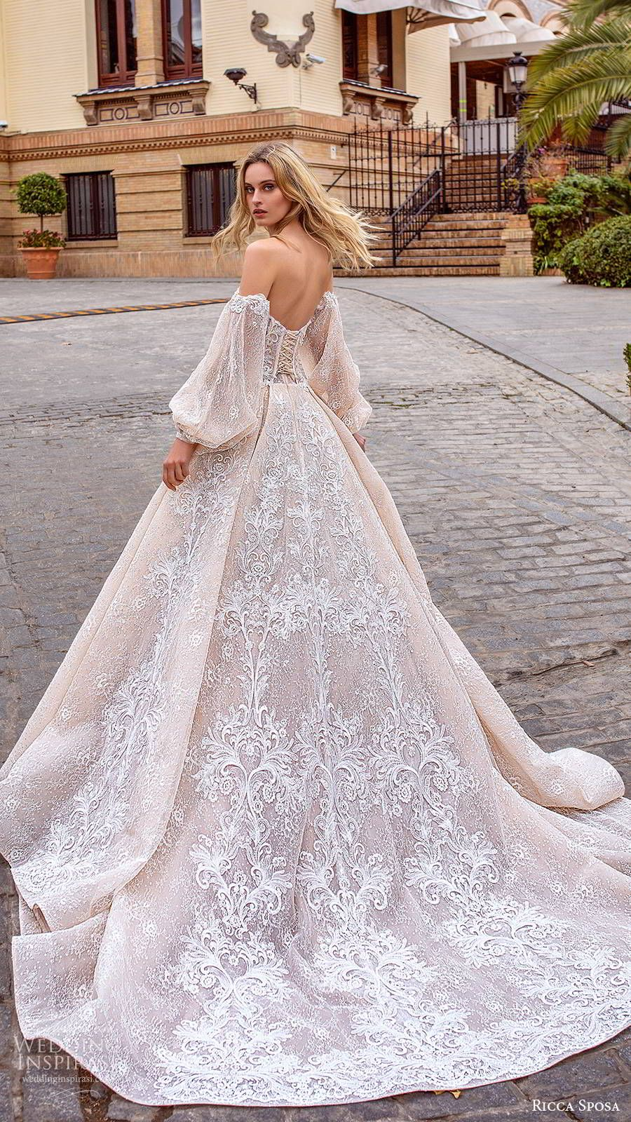 ricca sposa 2019 bridal off shoulder semi sweetheart fully embellished romantic ball gown a line wedding dress chapel train blush color (1) bv -- Ricca Sposa 2020 Wedding Dresses | Wedding Inspirasi #wedding #weddings #bridal #weddingdress #weddingdresses #bride #fashion ~
