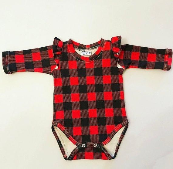 Buffalo Plaid Ruffled Onesie® | Baby girl clothes, Baby ...
