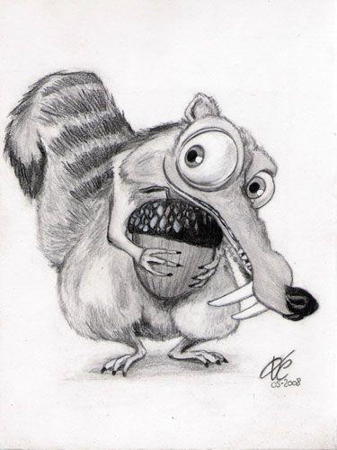 Dibujo De Ardilla De Era Del Hielo Dibujos De Animales A Lápiz En