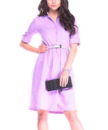 This Light Violet Linen-Blend Belt-Accent Shirt Dress is perfect! #zulilyfinds