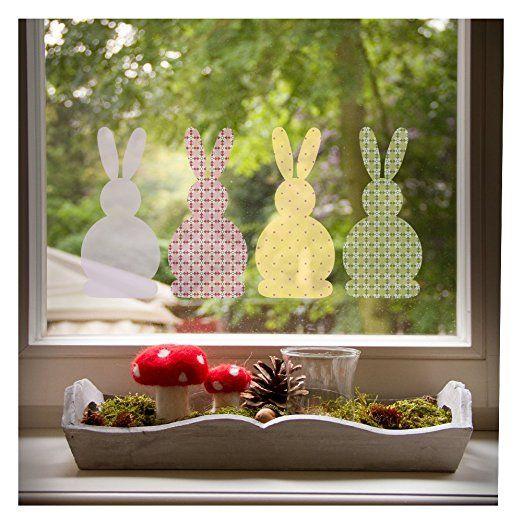 Fensterbild Osterhasen Set, beliebte OsterDeko für das