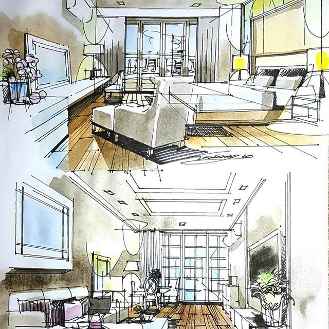 Bedroom Livingroom Condominium Watercolor Interiordesign Condominium Interior Interior Design Sketches Interior Design Drawings