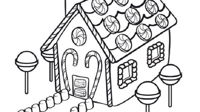 Christmas Colouring Pages Gingerbread House