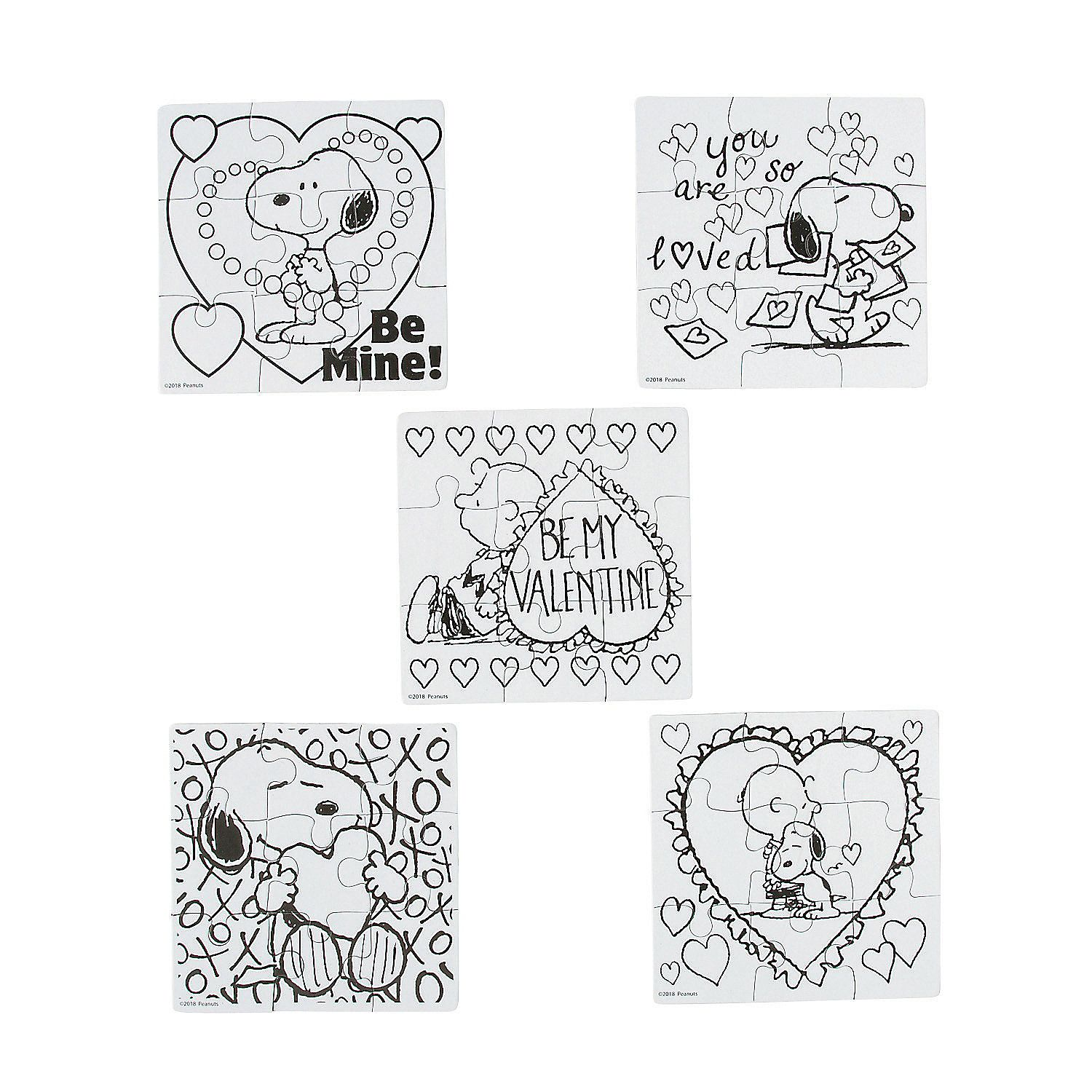 Color Your Own Mini Peanuts® Valentine Puzzles  Oriental Trading