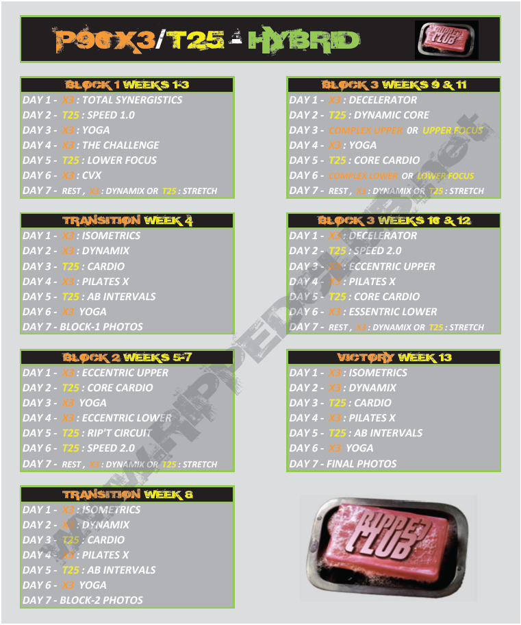 Here it is! The #p90x3 #t25 hybrid schedule and workout calendar! Print off BOTH!!!  Workout