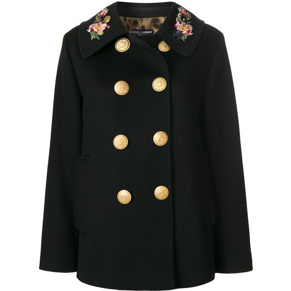2a980ec970e Dolce & Gabbana double breasted military coat ($3,375) ❤ liked on Polyvore  featuring outerwear, coats, black, military coat, long sleeve coat, pattern  coat ...