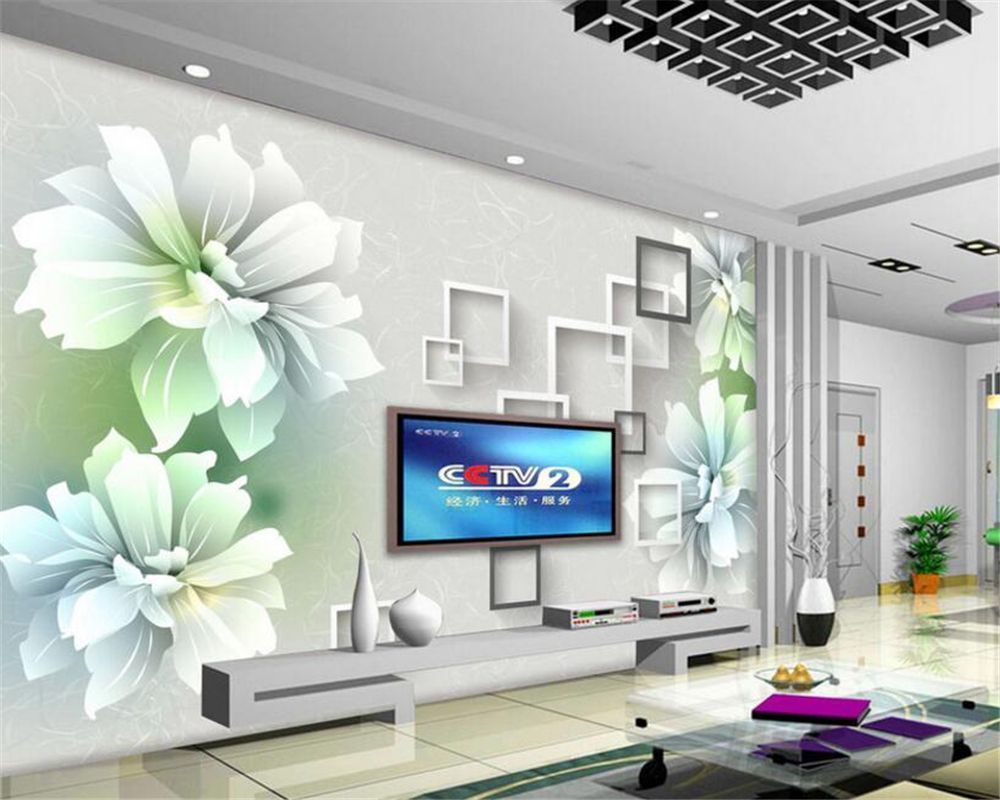 Beibehang 3D Wallpapers Living Room 3D Hand Painted Floral TV ...