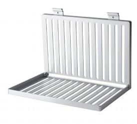 A Dish Drying Rack, Mounted To The Wall, That Folds Flat When Not In
