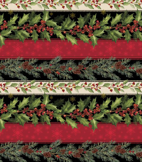 Holiday Inspirations Christmas Fabric-Holly