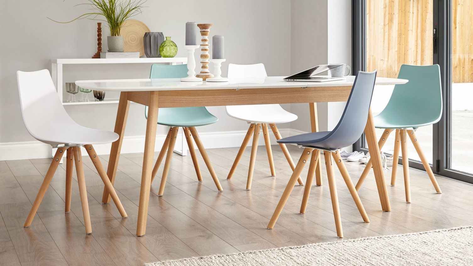 Aver Oak And White Extending Dining Table Scandi Dining Table