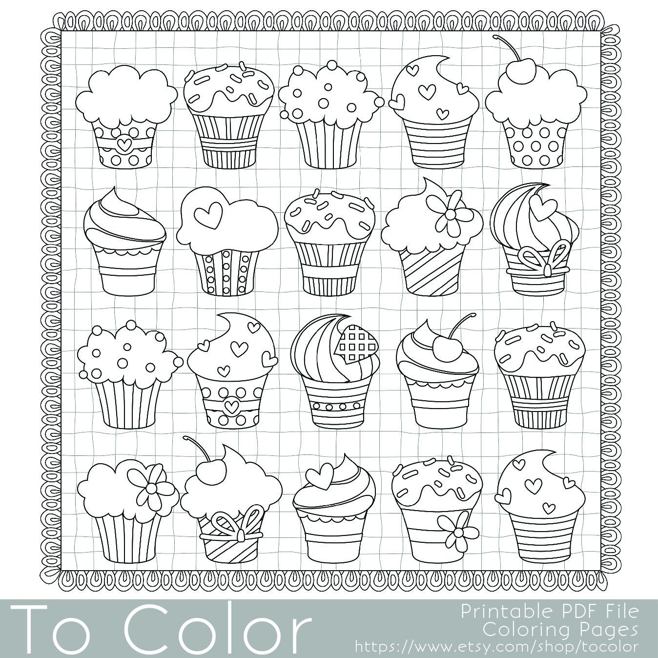 Cupcakes Coloring Page - this is a printable PDF coloring page ...