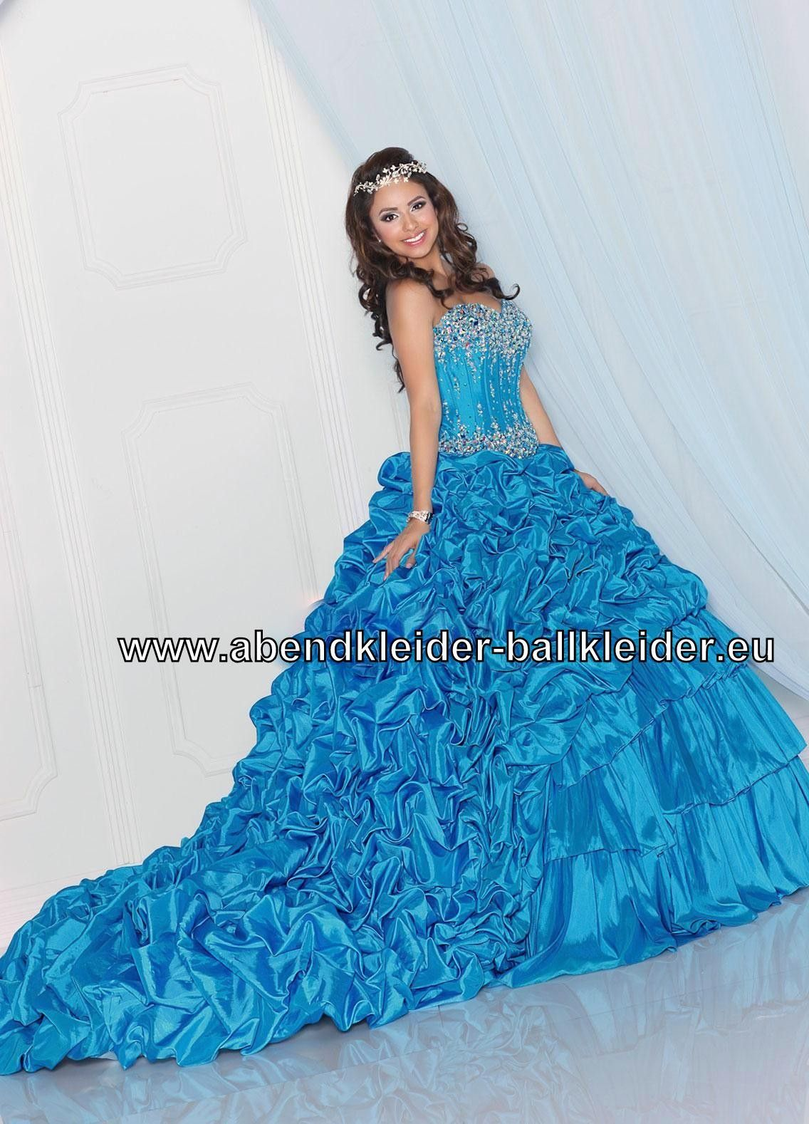 Luxus Abendkleid Ballkleid Brautkleid in Blau Mit Schleppe ...